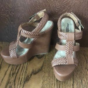 Women's US Size 6 Brown Strap Wedges - Brand New!